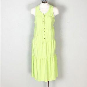 Athleta Drop in Tiered Midi Dress in Lime Green M